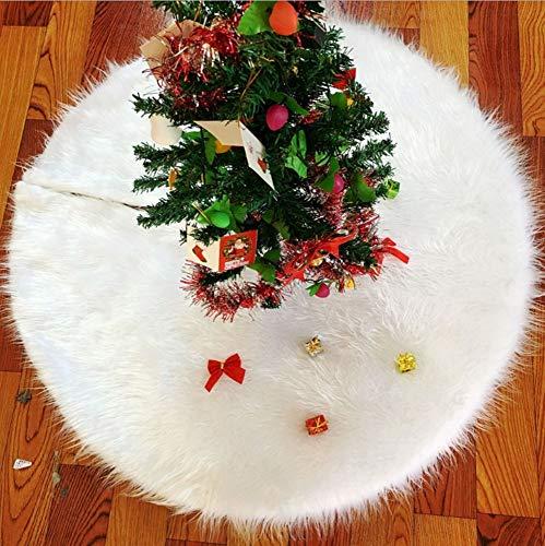 emlstyle Weihnachtsbaum Decke, Runde Form Schneeflocke Weiß Plüsch Christbaumständer Teppich (90 cm)