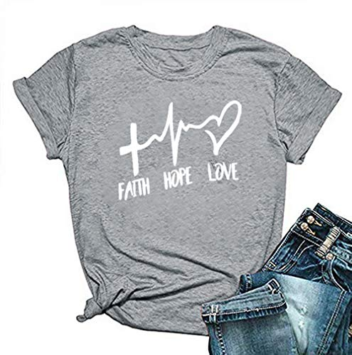 Qianxitang Summer Womens Faith Hope Love Graphic T Shirt Casual Cotton Short Sleeve Round Neck Letter Print Tees Tops Light Grey