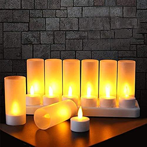 Eamplest 12er LED Flammenlose Kerzen, Wiederaufladbare LED Teelichter Flammenlose Kerzen, Wireless wiederaufladbare Teelichter, Für Party Hochzeit Hausgarten Outdoor Innendekoration