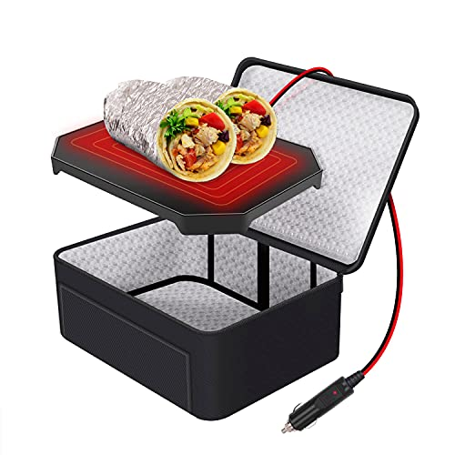 Aotto Portable Food Warmer for Car, 12V Heated Lunch Boxes for Adults, Portable Mini Oven Microwave for Meal & Raw Food Road Trip/Picnic/Camping/Picnic/Family Gathering (Black)