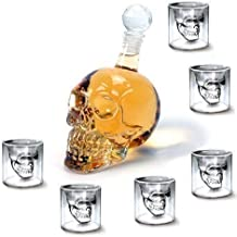 Vodka Bar con Design a Doppia Parete Feste con Teschio Ahmi per Vino 1 Bottiglia da 1000 ml + 6 Bicchieri da 75 ml Whisky per casa Set di 7 Bicchieri a Forma di Teschio