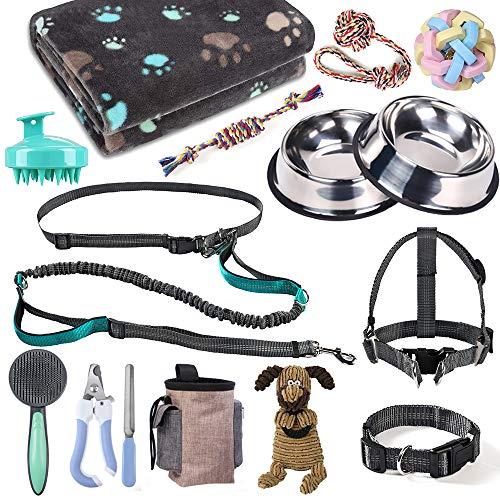 Welpen-Starter-Set, Hundezubehör für kleine und mittelgroße Hunde, 17-teilig, Hundehalsband und Leine, Welpenzubehör-Set mit Hundegeschirr und Napf-Set, Welpen-Starter-Set, 17-teilig