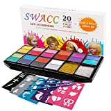 SWACC Face Paint Kits for Kids - 20 Washable Colors + Gold & Silver Glitter + 30 Stencils + 3 Brushes -Safe Face & Body...