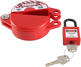 Anpatio 1-2.5 inches Rotating Gate Valve Lockout Plastic Outdoor Water Hose Protector Cover with Safety Padlock for Faucet Knob, Spigot & Standard Propane Gas