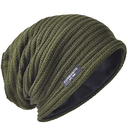 Uomo Slouchy Beanie Knit Zucchetto Lungo Gonfio Foderato Inverno Estate Cappelli (Solido Verde)