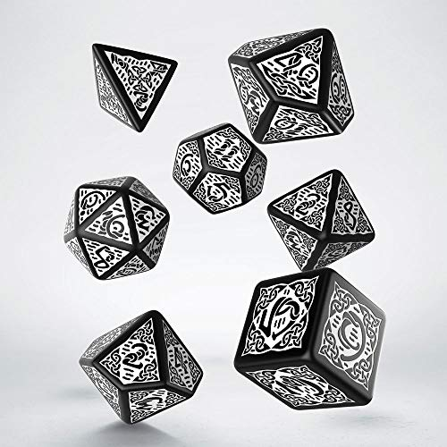 Celtic 3D Revised Black & White Dice Set