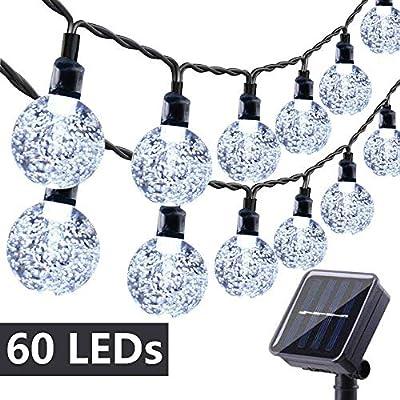 Toodour Globe Solar String Lights, 35.6ft 60 LED Outdoor Bulb String Lights,Waterproof 8 Modes Solar Patio Lights for Patio, Garden, Gazebo, Yard, Outdoors (White)