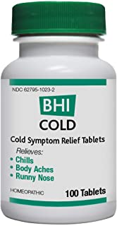 BHI Cold Symptom Relief Tablets for Multi-Symptom Relief - Homeopathic Formula - 100 Count