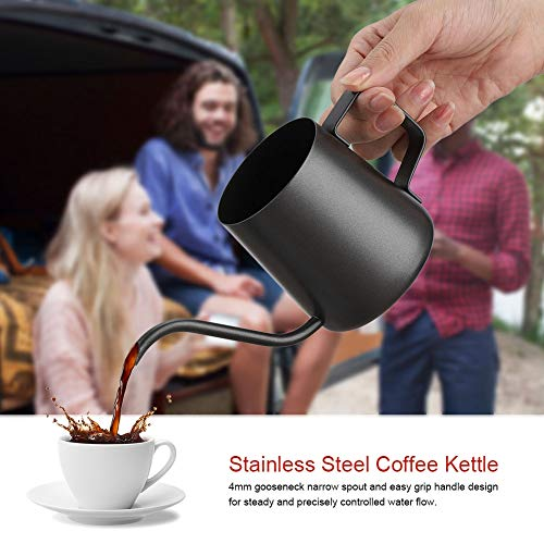 Théière en acier inoxydable, bouilloire à café en acier inoxydable, tasse à café, généreuse cuisine simple et élégante de qualité supérieure pour(Teflon black)