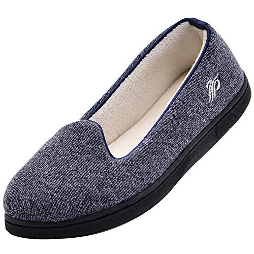 Wishcotton Light Breathable Slippers with Nonslip Sole,Navy,6 M US