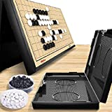 11x 11 Inch Magnetic Go Game Board Set , Portable Foldable Travel Ready Set , Reversible with Single Convex Stones for Beginner, Kids, Adults (Weiqi) (Black-White)