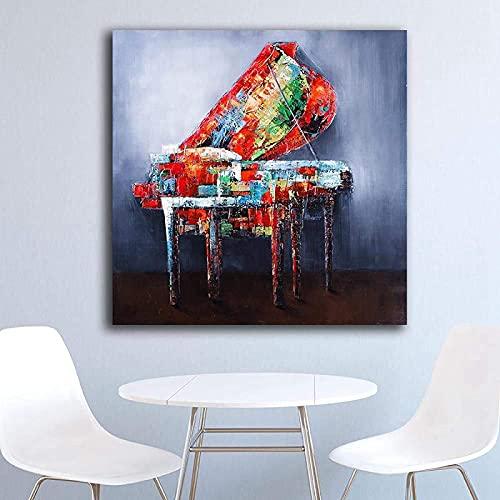 Cuadros abstractos de piano multicolor, póster musical, graffiti, guitarra, arte mural, cuadro nórdico, para salón, dormitorio, cocina, decoración, sin marco (60 x 60 cm)