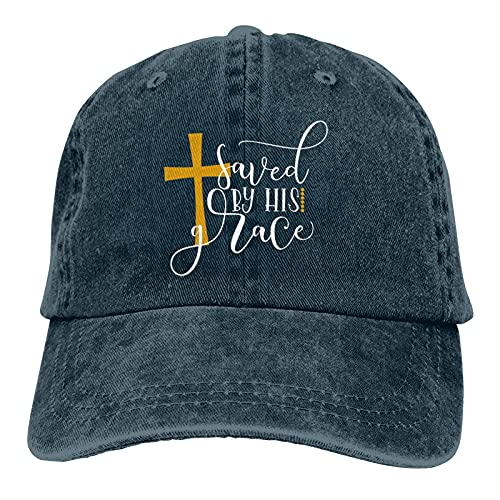 Jopath Saved by His Grace Hats,Gorra de béisbol conveniente para hombres y mujeres, azul marino, Talla única