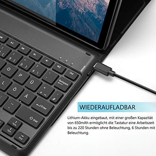Jelly Comb Beleuchtete Tastatur Hülle für Lenovo Tab M10 Plus 10.3, Abnehmbare Bluetooth Funktastatur mit Schutzhülle für Lenovo Tab M10 FHD Plus (2nd Gen) TB-X606F 10.3 Zoll, QWERTZ Layout, Schwarz