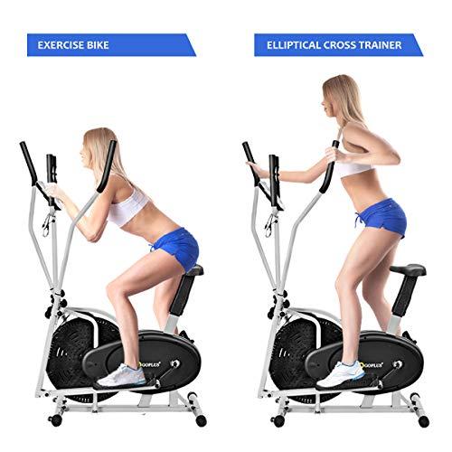 Goplus 2 In 1 Dual Trainer Elliptical And Exercise Bike