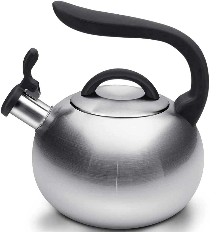 Théière Bouilloire à gaz avec sifflet, sifflet en acier inoxydable, bouilloire pour le thé, marmites à thé, niveau d'eau de sécurité 1.9L, pots à thé à base de capsule pour dessus de cuisinière Bouill