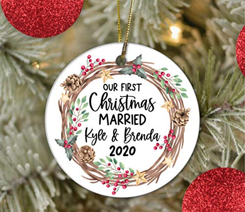2020 Merry Christmas Ornaments Gift, Our First Year Married, Ornament, Married Ceramic Ornaments, Xmas Tree Ornament Hanging Pendant Keepsake Decorations - 3 Inch Ceramic Holiday Home Decor