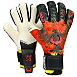 Renegade GK Limited Edition Rogue Patriot DE Goalie Gloves with Fingersaves | 4mm Giga Grip | Red, Black, Yellow Soccer Goalkeeper Gloves (Size 6, Youth, Kids, Neg. Cut, Level 4+)