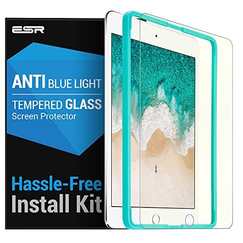ESR iPad 9.7 フィルム iPad Pro 9.7 ブルーライトカット フィルム (2018 / 2017 新型) Air2 / Air/The New iPad 9.7インチ 日本旭硝子素材製 0.3mm 三倍強化 ガラス 液晶保護フィルム 貼り付けガイド枠付き 硬度9H 気泡自動排除 スクラッチ 指紋防止