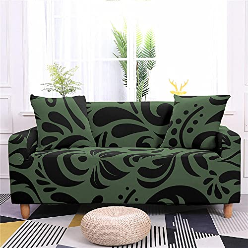 Super Stretch Sofa Covers Couch Covers Sofa Slipcovers for Sofas 4 Seater 3D Printed Green Print Non Slip Slipcover Furniture Protector with Spandex Fabric Washable Sofa SetBlack