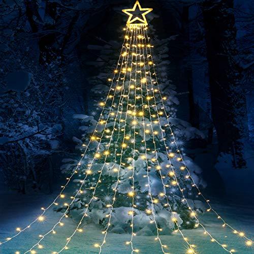 Qedertek 3m Christbaumbeleuchtung mit Große Sterne, 317 LED Weihnachtsbeleuchtung Außen Lichterkette mit 9 Girlanden, Lichterkette Eisregen für Weihnachtsbaum, Tannenbaum, Fenster, Garten (Warmweiß)