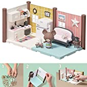 Bandai - Haco Room - Kit cuisine & salon - 99 pièces à assembler - Poupée Jackie, double pièce de maison et nombreux accessoires - mini-univers - jeu de construction - 35456.