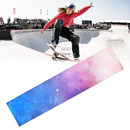 QUCUMER Skateboard Scooter Griptape 120 * 25cm Scooter Grip Tape Rutschfest Grobschleifpapier Selbstklebend Schleifpapier Longboard Sandpapier für die Meisten Roller Skateboard (Sternenklarer Himmel)