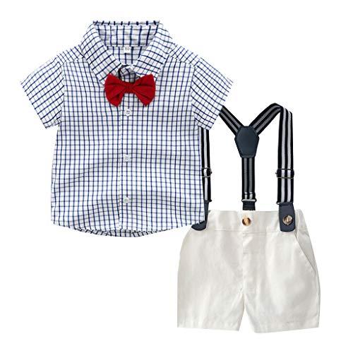 TTLOVE Sommer Kinder Kleidung Kleinkind Baby Boys Gentleman Fliege Gestreiften Plaid T-Shirt Tops + Shorts Overalls Outfits Festliche Taufe Hochzeit FüR Jungen Bekleidungssets (Blau,110)