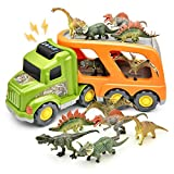 LASCOTON Dinosaur Toys Set Truck for 1 2 3 4 Years Old Toddlers Boys Friction Powered Car Carrier Trailer with Sound and Light Gift for Boys, with 6 Dinosaurs