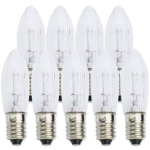com-four® 9X Ersatzbirne, Riffelkerze für Schwippbögen und Lichterketten mit 11 Lampen-Steckplätzen, 23V / 3W, mit E10 Schraubgewinde (09 Stück - 23V)