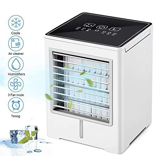 HBBOOI Enfriador de Aire portátil, Mini acondicionador de Aire, 3 en 1 Personal refrigerador evaporativo, humidificador, purificador con USB, Temporizador