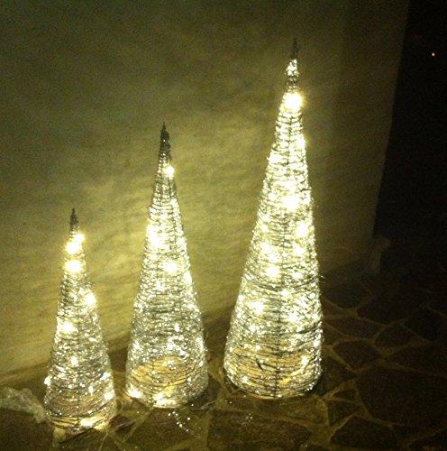 LED Weihnachtsbaum 3er Set aus Metall mit Glitzerlack, Leuchtpyramide, Weihnachtsdeko, Deko für Weihnachten