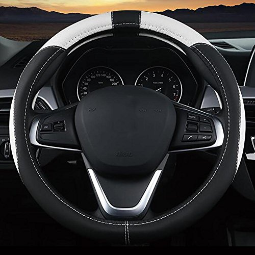MIAO Couverture de volant de voiture - Four Seasons général respirant anti-dérapant confortable Microfiber PU cuir Housse de Volant, noir + blanc , 38cm