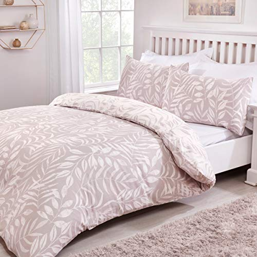Sleepdown Leaf Natural Floral Reversible Easy Care Duvet Cover Quilt Bedding Set with Pillowcases - King (220cm x 230cm)