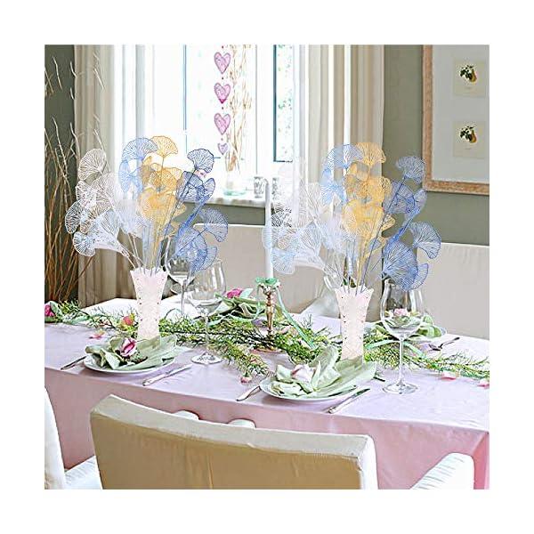 XHXSTORE 4pcs Flores Artificiales Decoracion Exterior Interior Rama Flor Artificial de Plastico para Manualidad Boda…