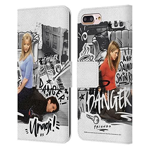 Head Case Designs Licenciado Oficialmente Friends TV Show Ross Unagi Doodle Art Carcasa de Cuero Tipo Libro Compatible con Apple iPhone 7 Plus/iPhone 8 Plus