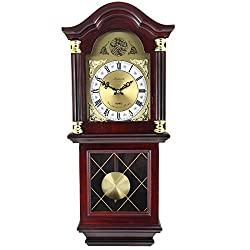Bedford Clock Collection BED-7071 Antique Mahogany Cherry Oak Chiming Wall Clock