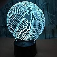 ナイトライトムードライトバスケットボールをする3DLEDナイトライト7色USBテーブルランプリモコン寝室ムードクリエイティブギフトアクリル家の装飾子供の誕生日クリスマス