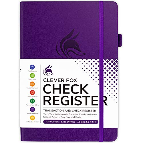 Clever Fox Check Register – Deluxe Checkbook Log with Check & Transaction Registers, Bank Account Register Booklets for Personal and Work Use, A5 Hardcover - Purple