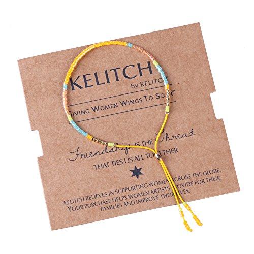 KELITCH Kristall Miyuki Mix Perlen Frauen Freundschaft Armbänder Handgemachte Neue Link Armbänder Armreif (Gelb)