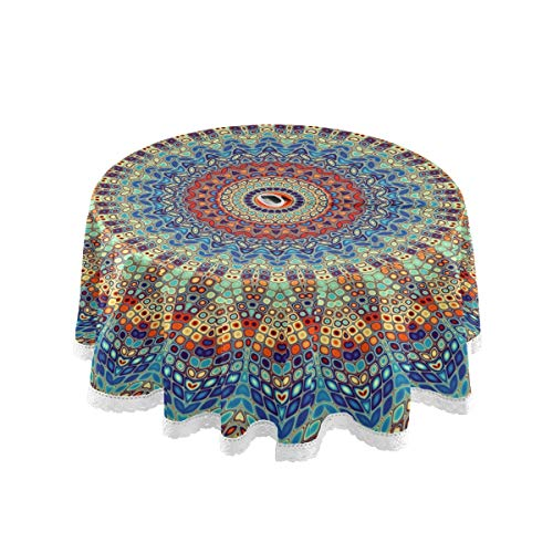 Qilmy Mandala Outdoor Tablecloth 60 Inch Waterproof Round Tablecloth with Umbrella Hole and Zipper for Backyard Party BBQ Decor