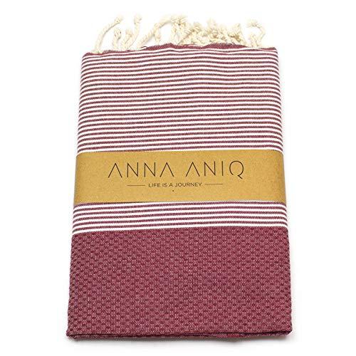 ANNA ANIQ Fouta Hamamtuch Saunatuch XXL Extra Groß 100x200 cm - 100% Baumwolle aus Tunesien als Strand-Tuch, Badetuch, Pestemal, Wickel-Tuch (Bordeaux-Rot)