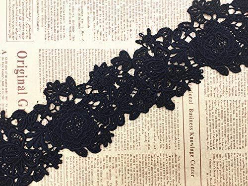 Ajuste de encaje de bordado inelástico con Patrón de Dazzle en 10cm de ancho Cortina, Manteles, Funda que se puede quitar, Ropa de bricolaje nupcial/Accesorios (2 yardas en un paquete) (negro)