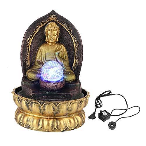 Fuente de Escritorio clásica de Buda, Estatua de Buda Sentado meditando en Resina única con Bomba Sumergible silenciosa, Fuente de Buda Elegante con luz LED para el hogar(Enchufe de la UE)