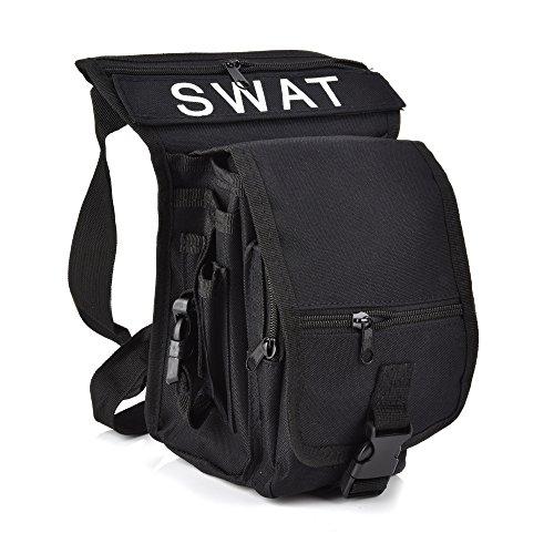 Fontic Bolso de Cintura, Bolso de Pierna de Tela de Lona para Hombre, Bolso de Ocio o para el Deporte al Aire Libre (Negro)