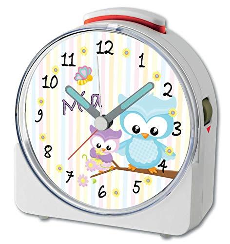 CreaDesign, WU-71-1008, Eule Frühling, analog Kinderwecker weiß, Funkwecker mit Sweep-Uhrwerk und fluoreszierenden Zeiger und Licht, personlisiert mit Namen, 10,2 x 4,6 x 11 cm