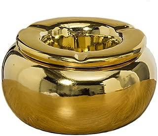 Home Collection Juego de 2 Ceniceros de Ceramica Dorado A8 D14cm