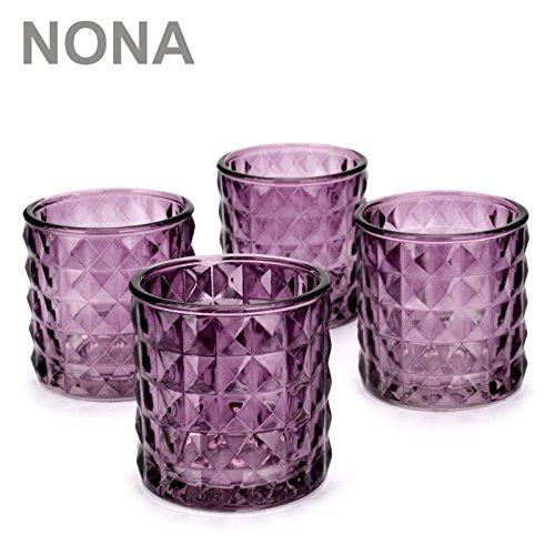 NoNa KAYO brombeer lila - 4er Set Teelichtglas schwer - Kerzenglas Kerzengläser Windlichtglas orientalisch Vintage