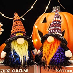 Image: EDLDECCO Halloween Gnomes Set Light with Timer Decor 9 Inches Set of 2 Nisse Swedish Nordic Tomte with Wizard Witch Hat Home Party Decorations (Orange and Purple)