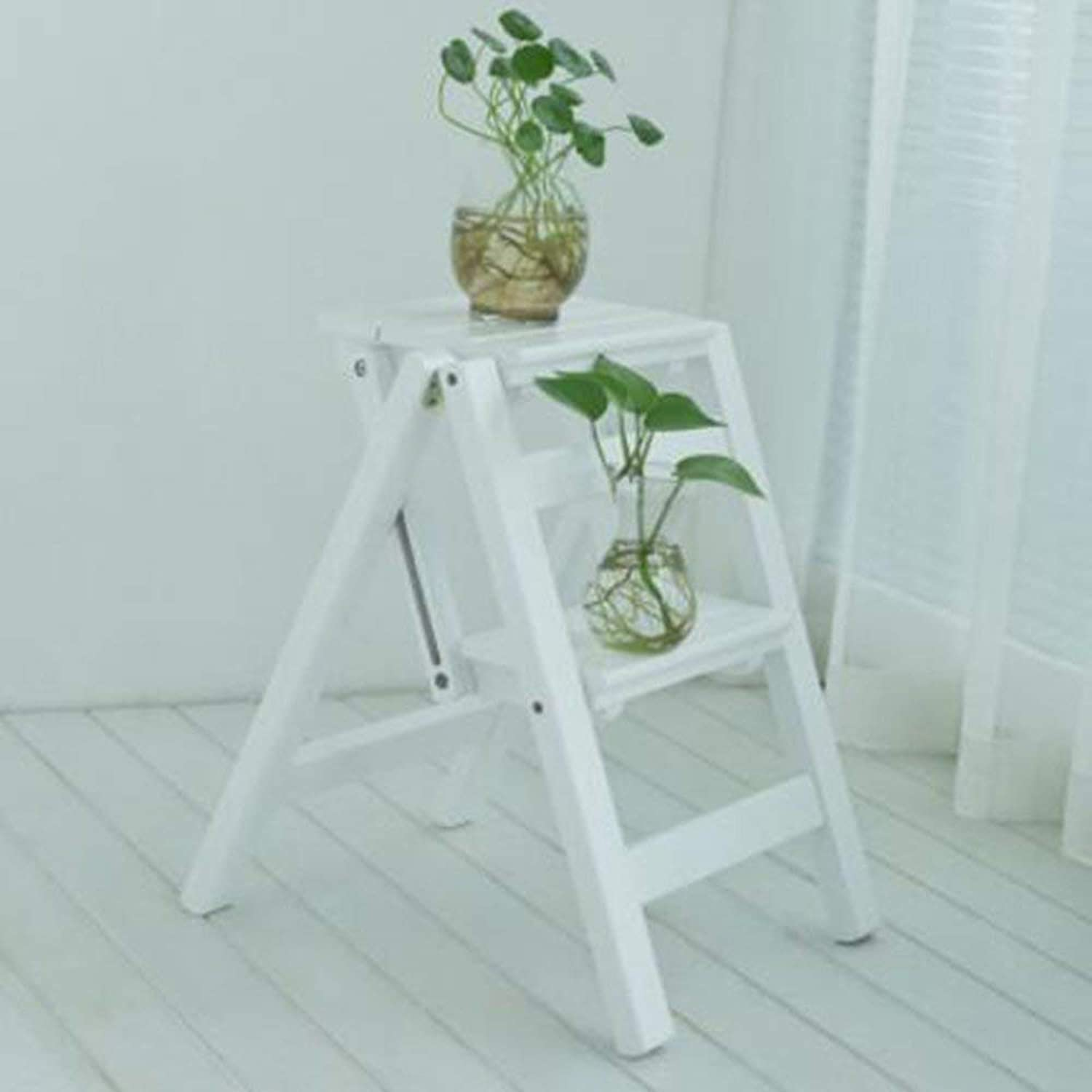 WW How To Send Stool Brisk- Multifunctional Household Folding Ladder Retro Creative Chair Four Step Ladder Thick Bamboo Stepladder Indoor Climbing Ladder Rack (3 color) (color  Wood color)